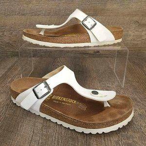 Birkenstock Women's Gizeh Birko Flor White Sandal